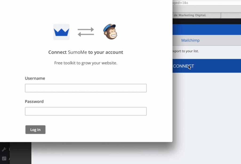 SumoMe login en MailChimp