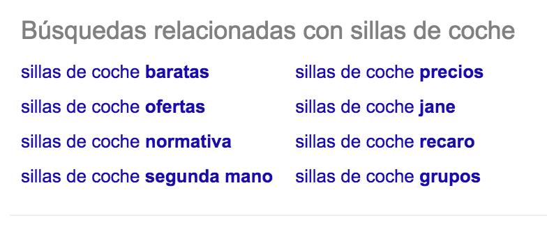 Sugerencias de Google final página
